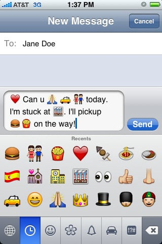 Add Smileys and more to your iPhone SMS!
