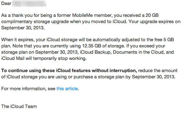Complimentary 20GB iCloud Plan Ending For Former MobileMe Users