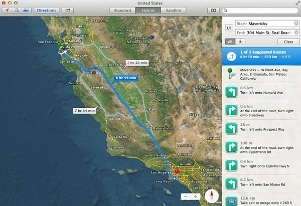 Sharing Directions In The Maps App, For Mavericks, With Your iPhone