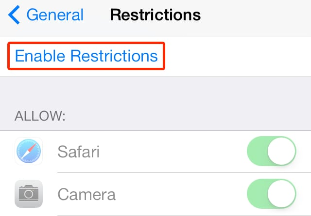 Parental Restrictions In iOS 7 – Part 1 (Enable Restrictions & Allow Apps)