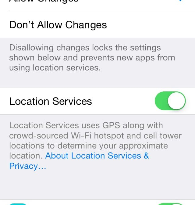Parental Restrictions In iOS 7 – Part 3 (Privacy)