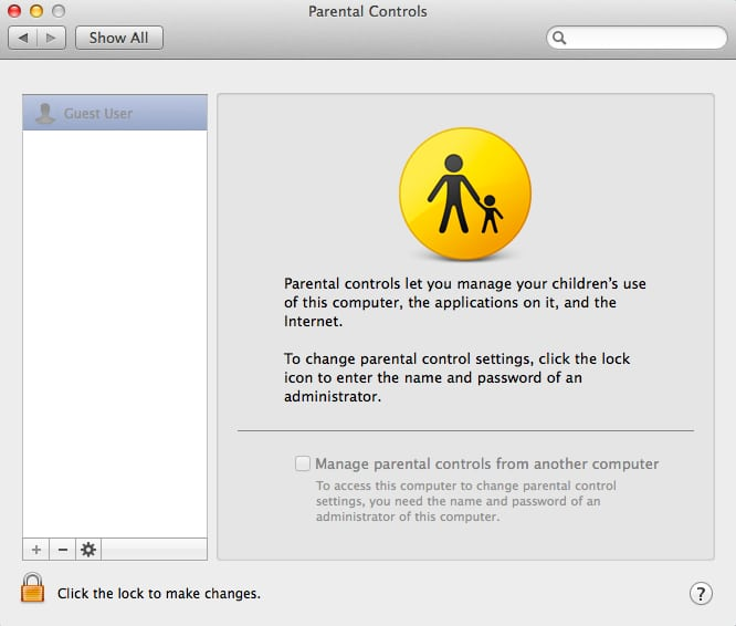 Manage parental controls from another mac